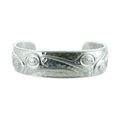 Silver and Pewter Hummingbird Cuff Bracelet Designed by Northwest Artist Kelly Robinson