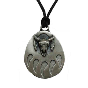 Buffalo Skull and Bear Paw Pendant Necklace in Pewter with Adjustable Cord