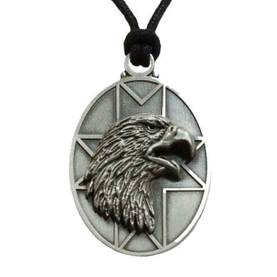 Eagle Pendant Necklace in Pewter with Adjustable Cord