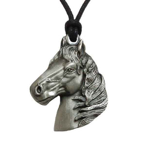 Horse Head Pendant Necklace in Pewter with Adjustable Cord