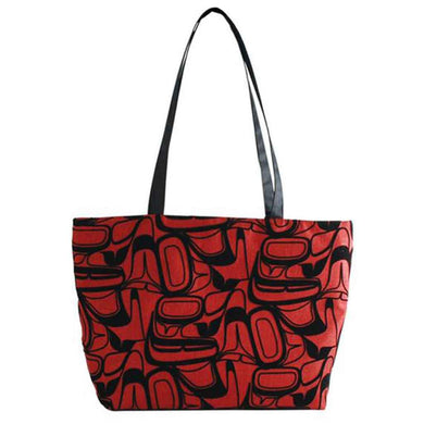 Abstract Eagle Design Zip Tote Bag in Red by Kelly Robinson