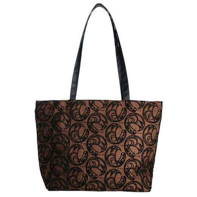 Abstract Raven Design Zip Tote Bag in Brown by Connie Dickens