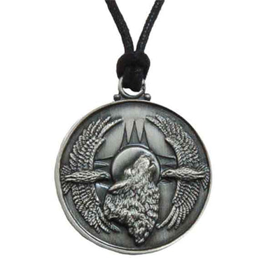 Pewter Pendant Necklace with Adjustable Cord - Wolf with Eagles