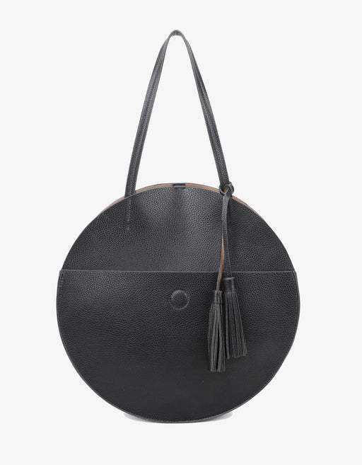 ALLISON CIRCLE TOTE BLACK/TAUPE