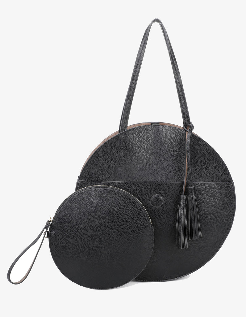 ALISON CIRCLE TOTE BLACK/TAUPE
