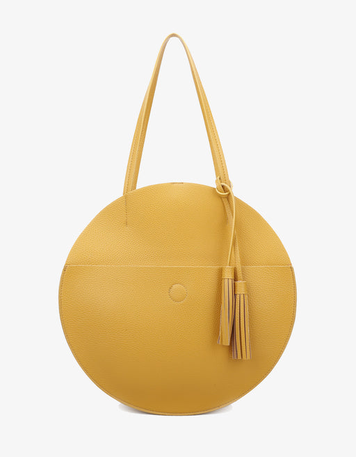 ALLISON CIRCLE  TOTE MUSTARD/CREAM
