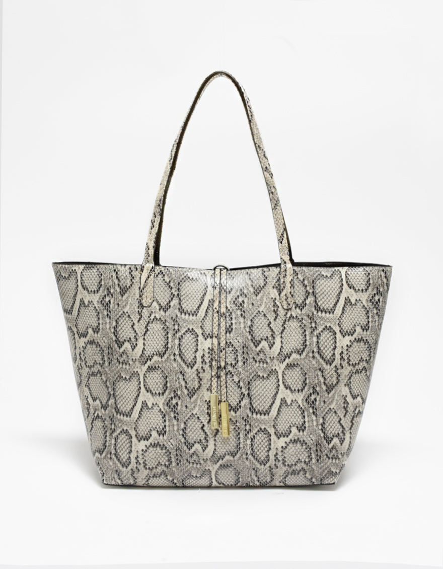 DEPARTURE TOTE NATURAL SNAKE/BRONZE
