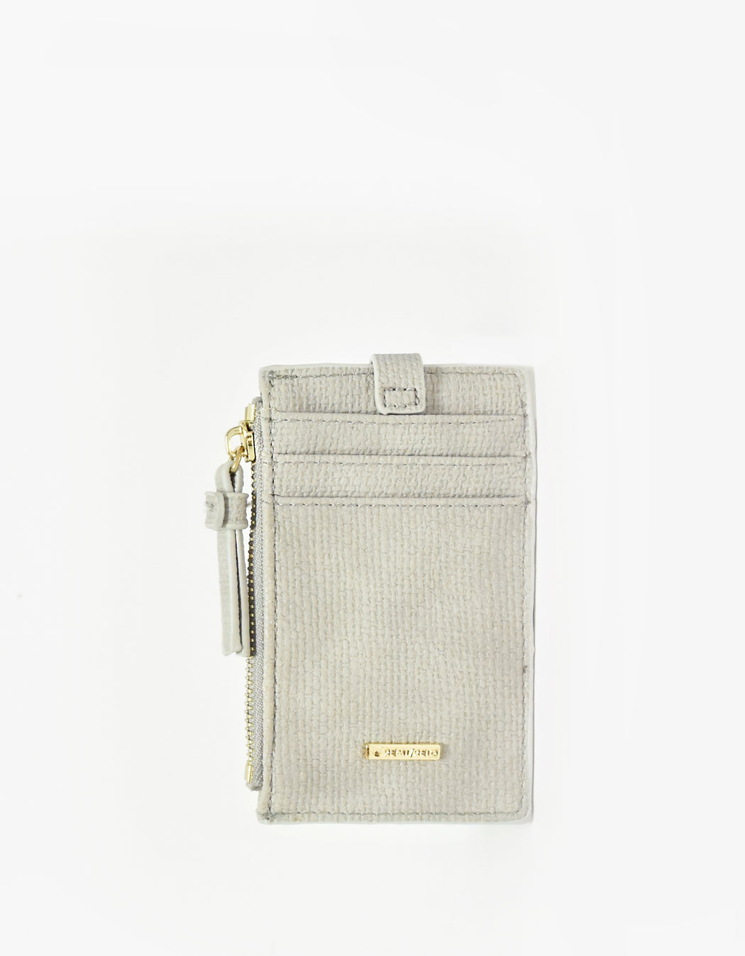 LANI LINEN ZIP CARD HOLDER LIGHT GREY