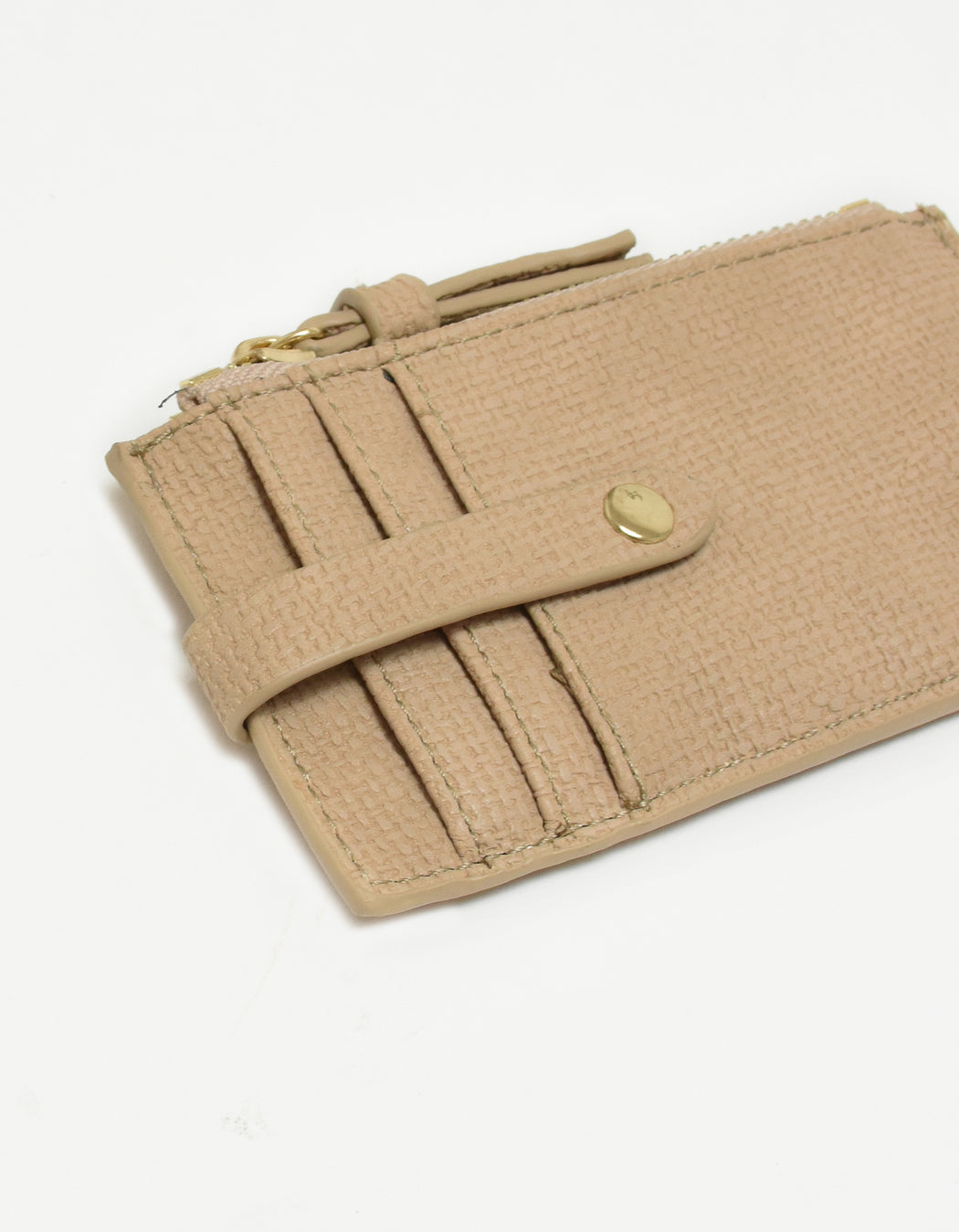 LANI LINEN ZIP CARD HOLDER NUDE