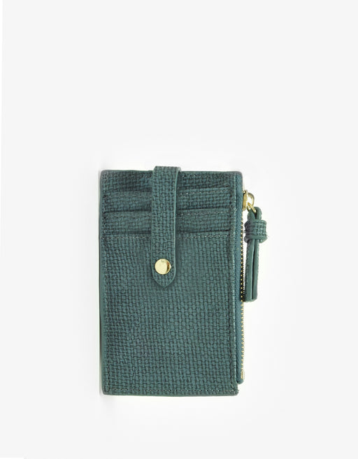 LANI LINEN ZIP CARD HOLDER TEAL