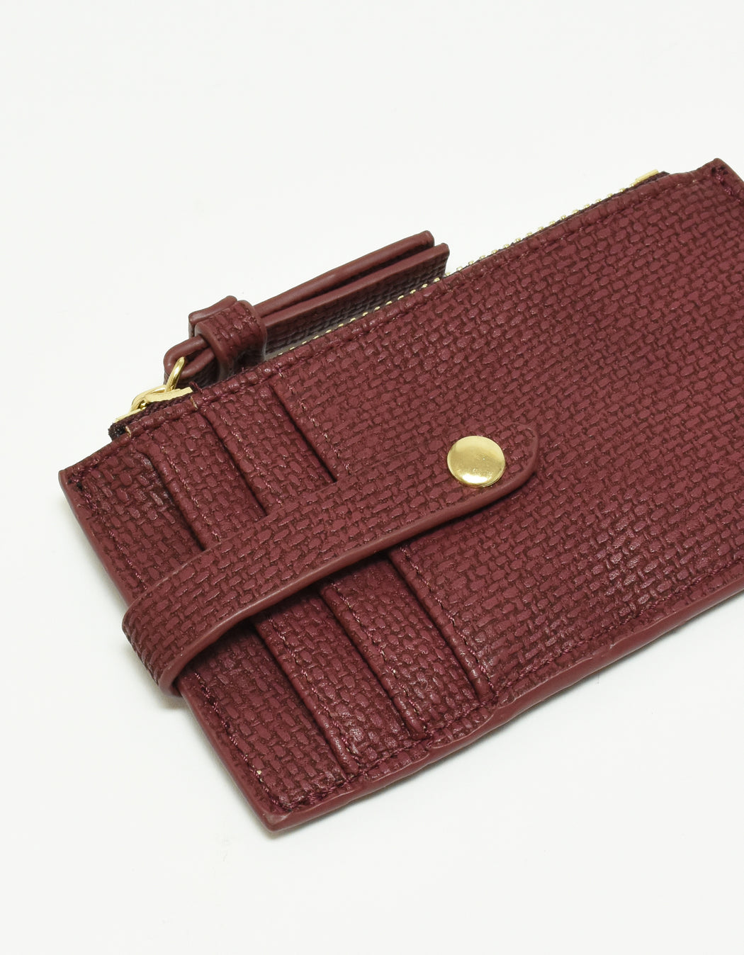 LANI LINEN ZIP CARD HOLDER WINE