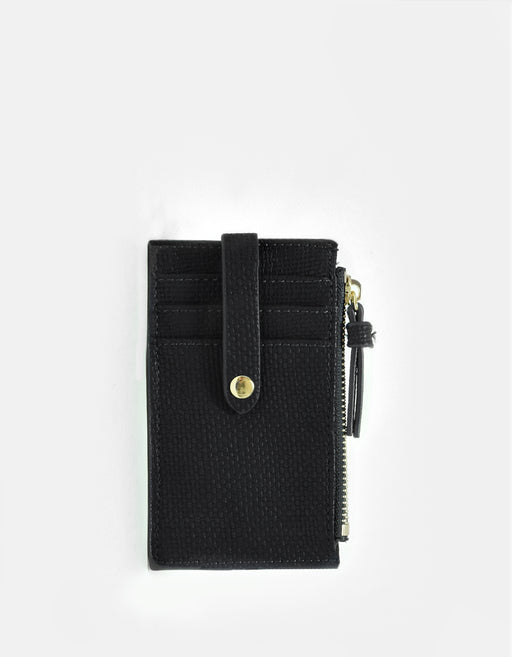 LANI LINEN ZIP CARD HOLDER BLACK