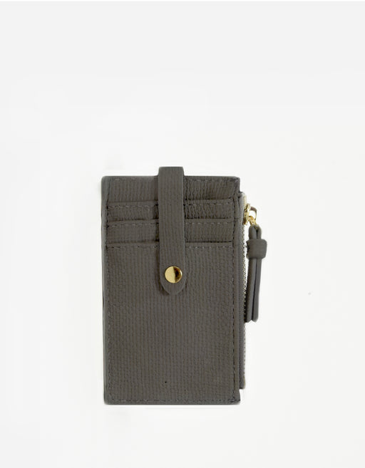 LANI LINEN ZIP CARD HOLDER GREY