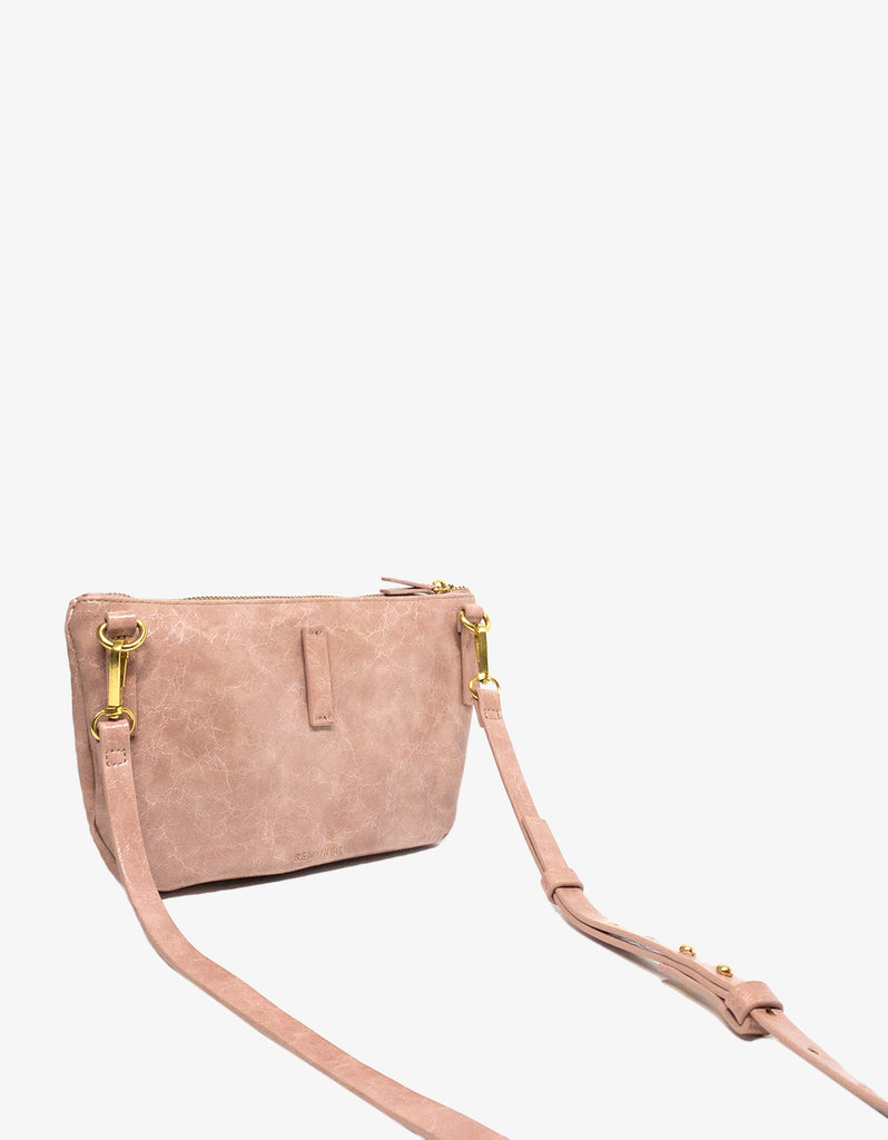 LEO CONVERTIBLE CROSSBODY SLING AND BELT BAG LARGE WAXED BALLET PINK