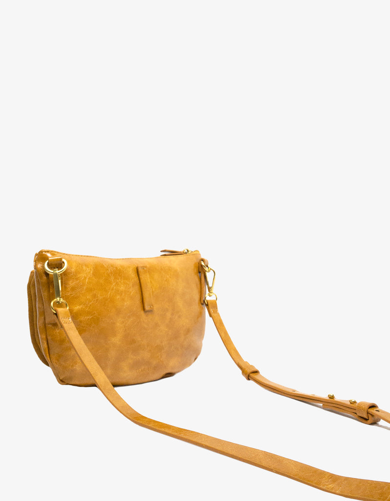 LEO CONVERTIBLE CROSSBODY SLING AND BELT BAG LARGE WAXED MARIGOLD