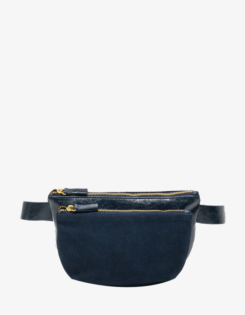 LEO CONVERTIBLE CROSSBODY SLING AND BELT BAG LARGE WAXED NAVY