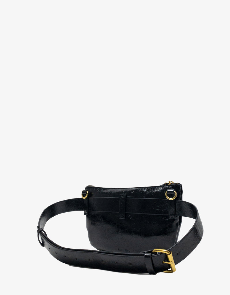 LEO CONVERTIBLE CROSSBODY SLING AND BELT BAG SMALL BLACK