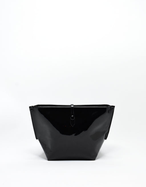 SOBRIQUET PATENT LARGE MAKE UP POUCH BLACK