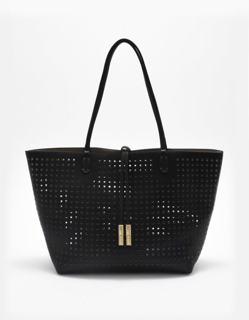 DEPARTURE PERFORATED TOTE BLACK/TAUPE