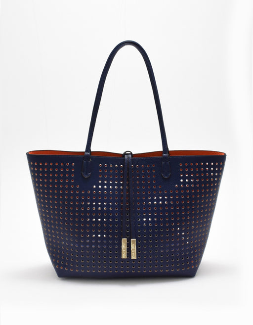 DEPARTURE PERFORATED TOTE BLUE/TANGERINE