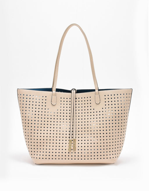 DEPARTURE PERFORATED TOTE CREAM/TEAL