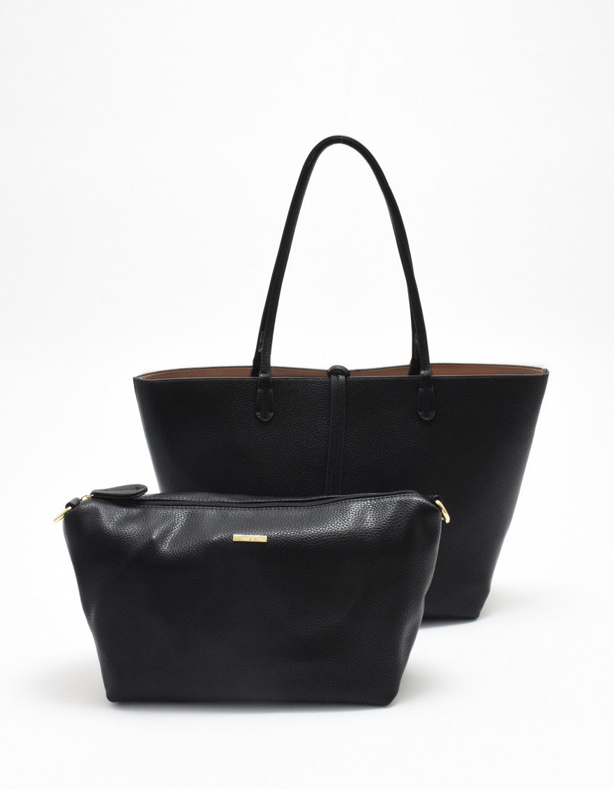 DEPARTURE TOTE BLACK/TAUPE