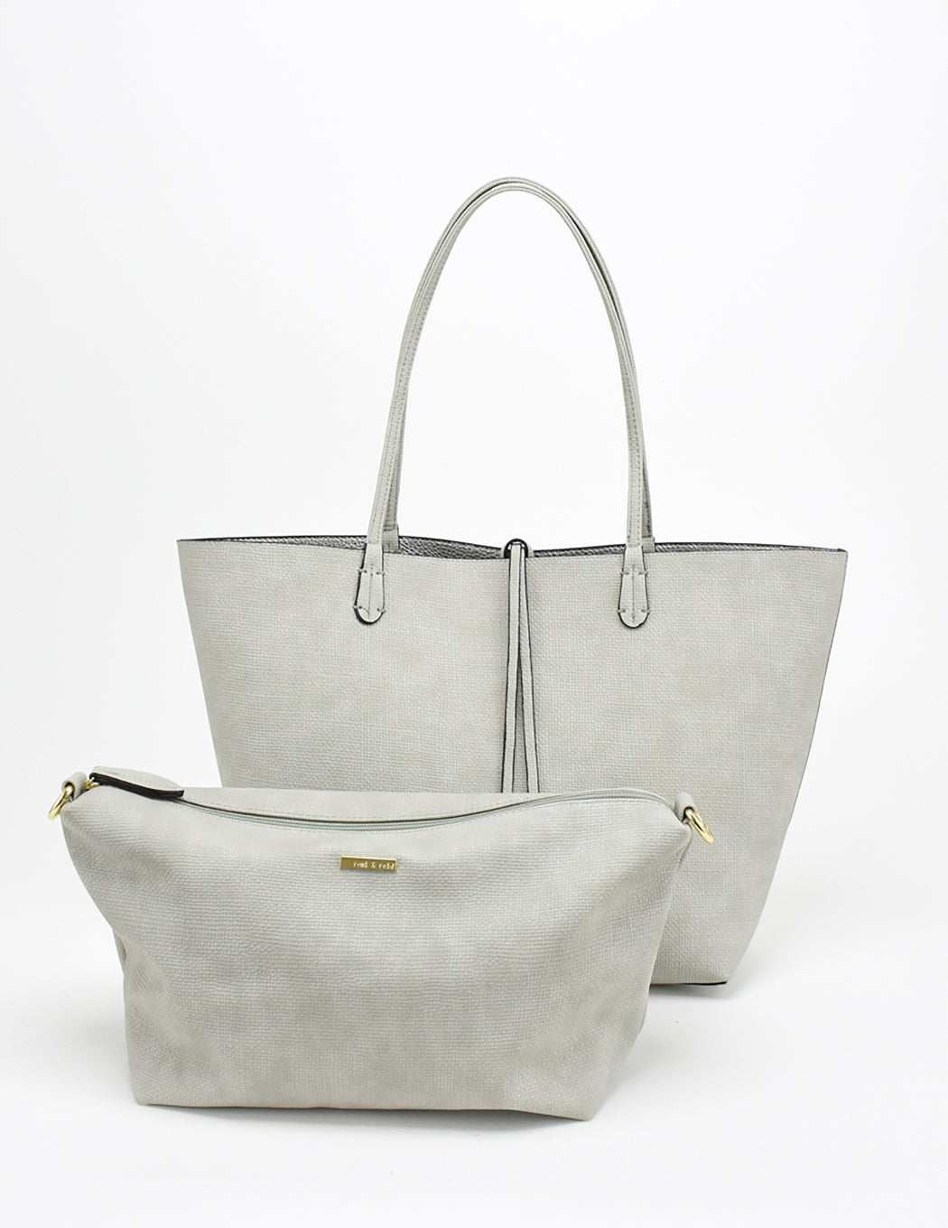 DEPARTURE TOTE LINEN TEXTURE LIGHT GREY/SILVER