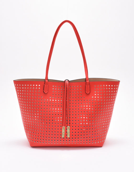 DEPARTURE PERFORATED TOTE TROPIC RED/NUDE