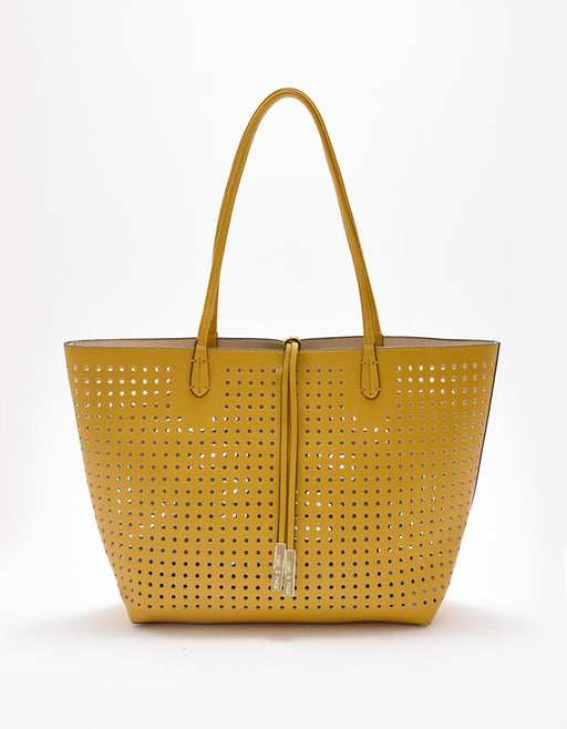 DEPARTURE PERFORATED TOTE YELLOW/CREAM
