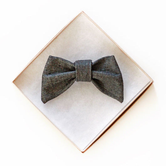 Gray Vegan Leather Doggy Bow Tie
