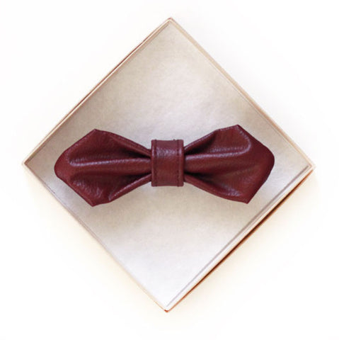 Red Vegan Leather Doggy Bow Tie