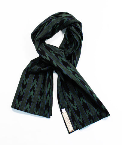 Green Tribal Woven Scarf