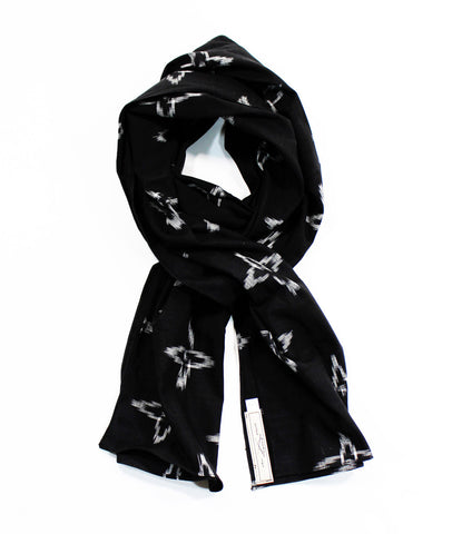 Intricate Woven White on Black Scarf