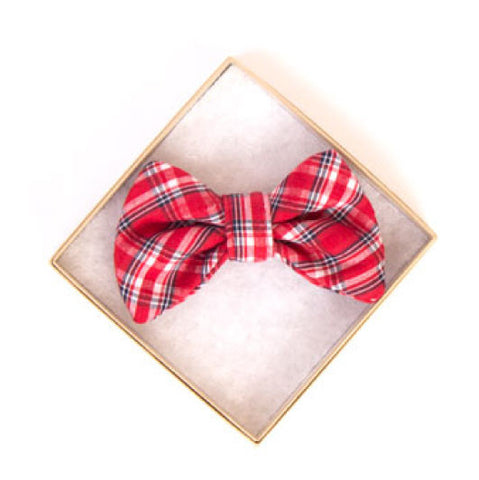 Red Plaid Doggy Bow Tie