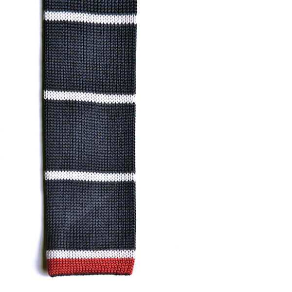 The Stretford Knit Tie (Navy Striped)