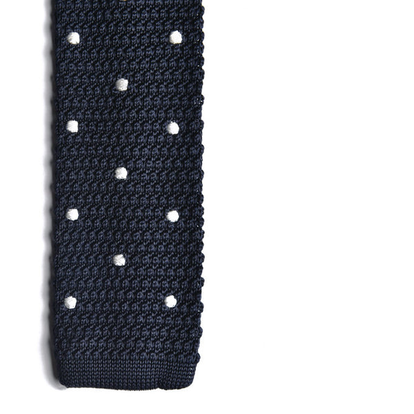 The Mellor Knit Tie (Navy Polka Dot)