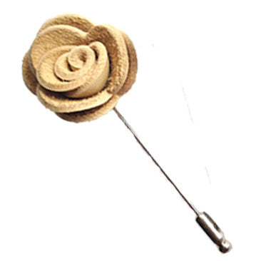 Leather Rose Lapel Pin in Vanilla
