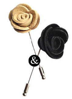 Leather Rose Lapel Pin Set