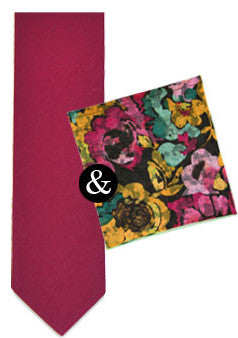 The Raspberry Skinny Tie & Companion Pocket Square Set