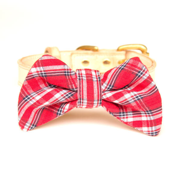 Red Plaid Doggy Bow Tie & Leather Collar Set
