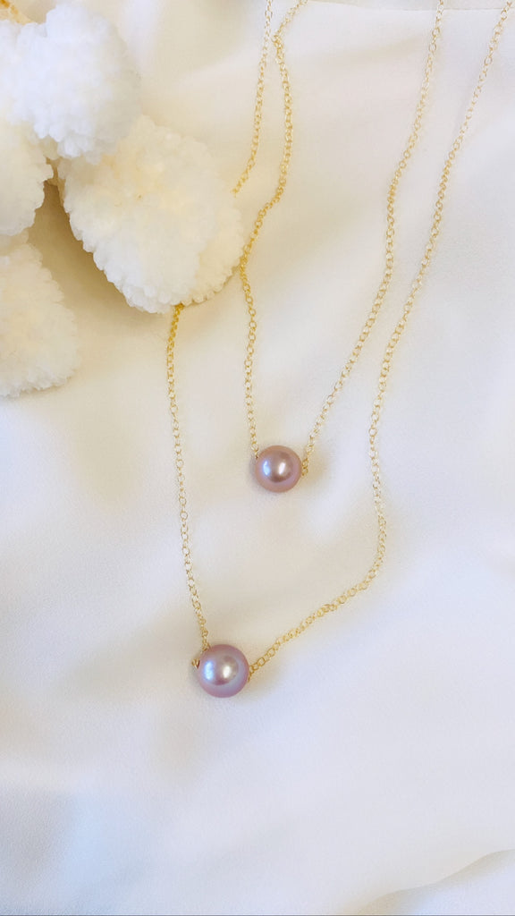 Pink Edison Pearl Mom & Mini necklace set