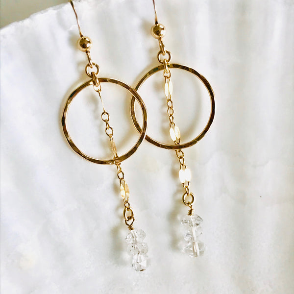 HERKIMER Diamond hoop drop earrings
