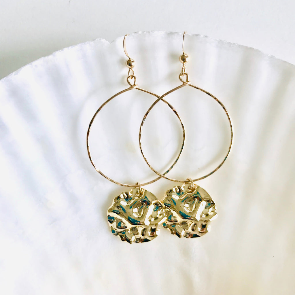 Hammered Disc statement earrings