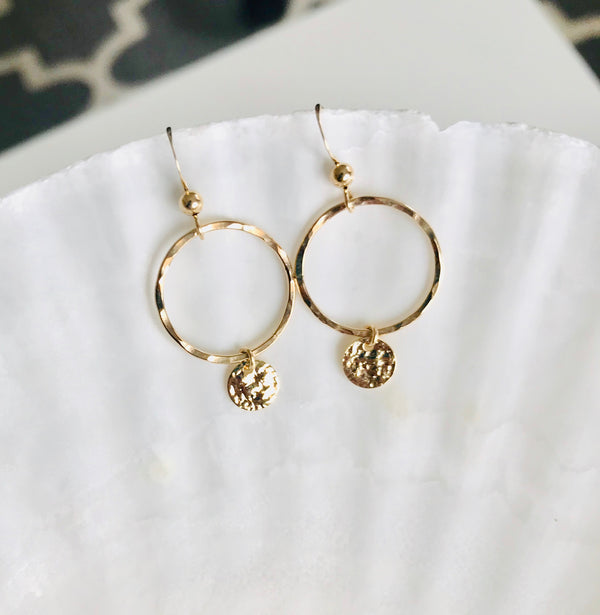 Dainty Hammered Disc statement earrings