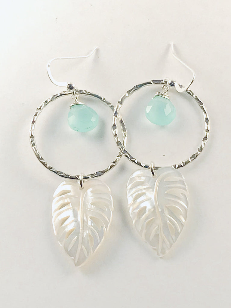 Silver KALO LARGE leaf hoop earrings with gemstones