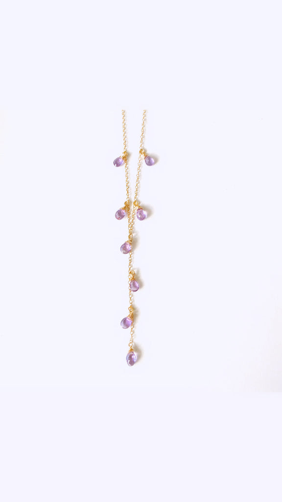 Amethyst long lariat necklace