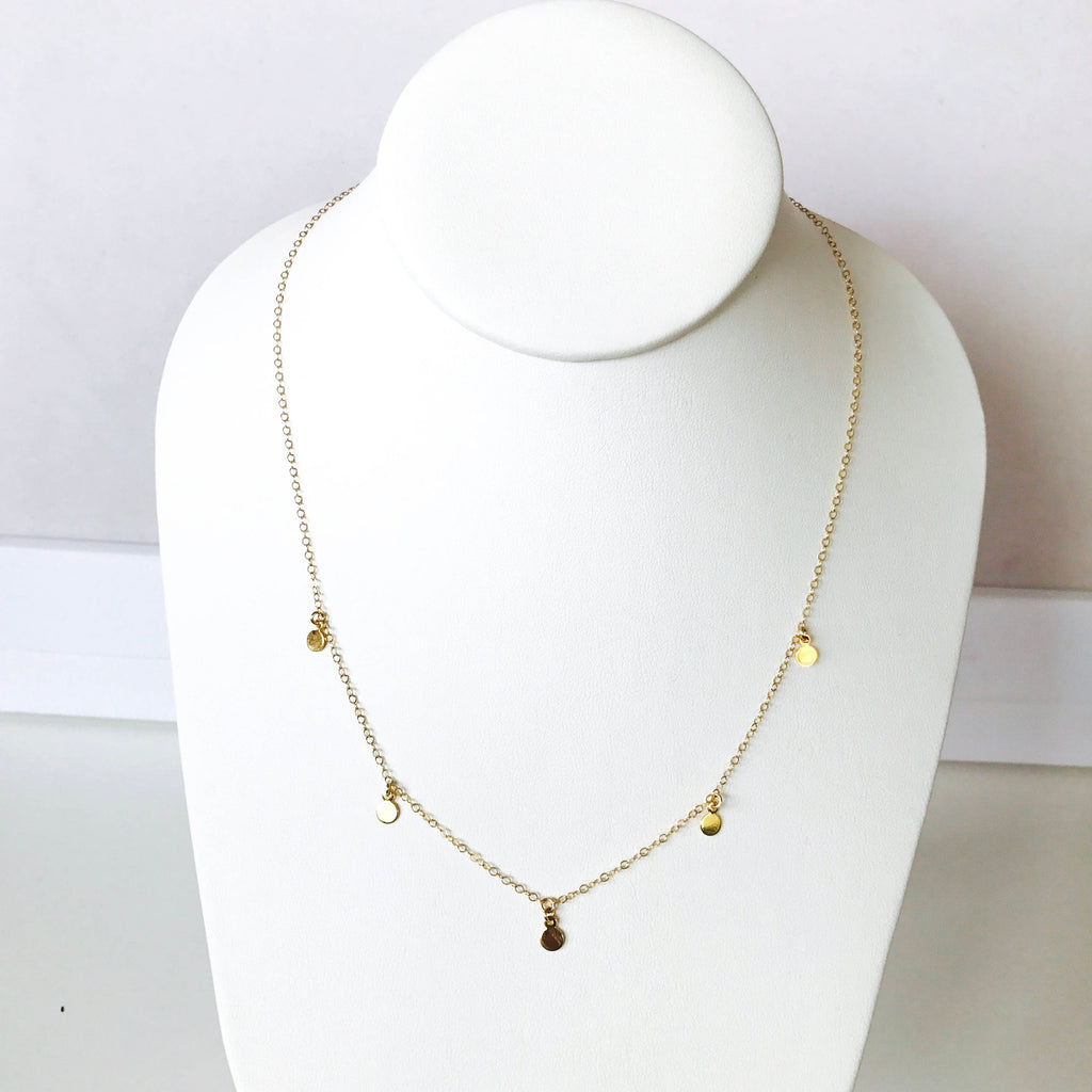 Dainty gold fill disk layering necklace