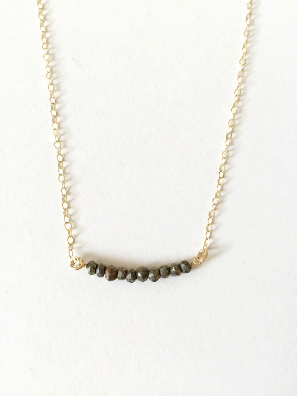 SIMPLE gemstone bar necklace