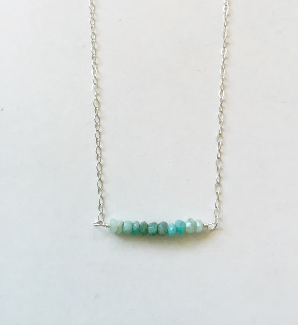 SILVER Bar gemstone necklace