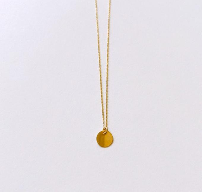 14k Solid Gold disc necklace